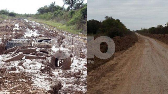 El antes y el después. Tras las intensas lluvias, los caminos quedaron destruidos. Se arreglaron, pero el dinero no alcanza.