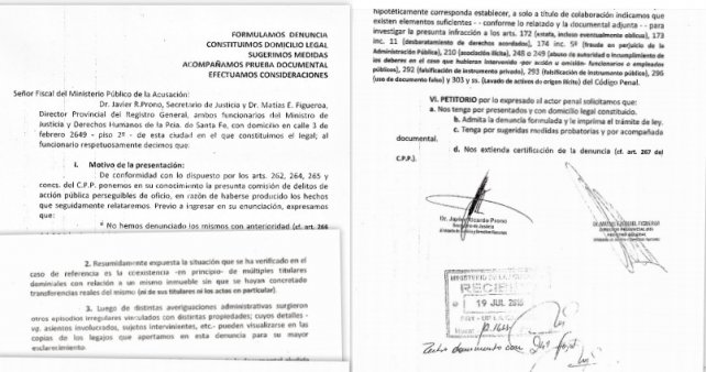 Hace tres días. La denuncia fue presentada el martes. Lleva la firma del secretario de Justicia, Javier Prono y de Figueroa.