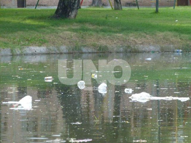 En los piletones. La falta de limpieza en los lagos es notoria, sobre todo después de cada fin de semana. Las bolsas y las botellas de plástico flotan en el agua. Da un mal aspecto, pero también genera contaminación para los patos que aún quedan.