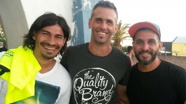 En Pilar, Carigol junto a Sungui Blanco y Chipi Gandín, excompañeros durante diferentes etapas en sus carreras.