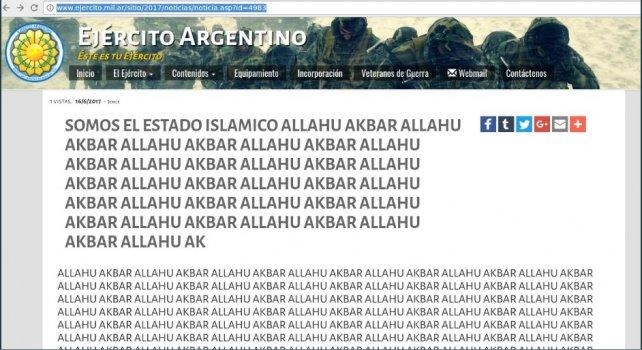 Hackearon la página web del Ejército Argentino: