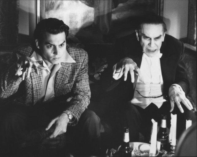 Landau junto a Johnny Deep en Ed Wood. Allí interpretó al actor Bela Lugosi en sus últimos años de vida.