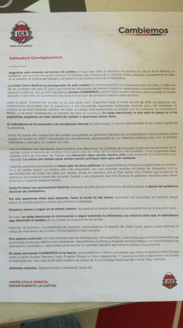 <b>Carta cuestionada. </b>En la nota, los radicales del Frente Progresista cuestionan esta carta que recibieron militantes santafesinos.