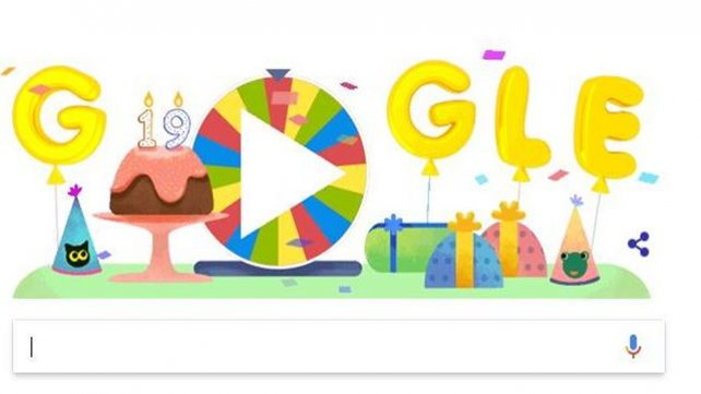 Google celebra su 19 cumpleaños con una ruleta de la fortuna