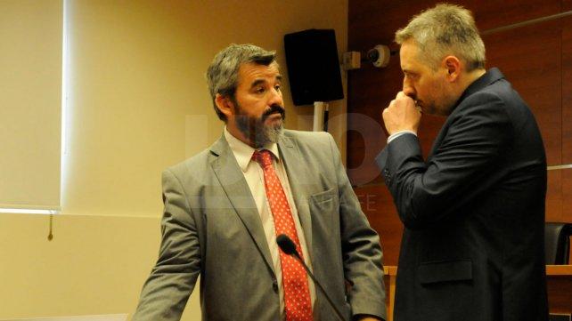 El fiscal Marchi y el defensor, Martín Durando, previo al inicio de audiencia.