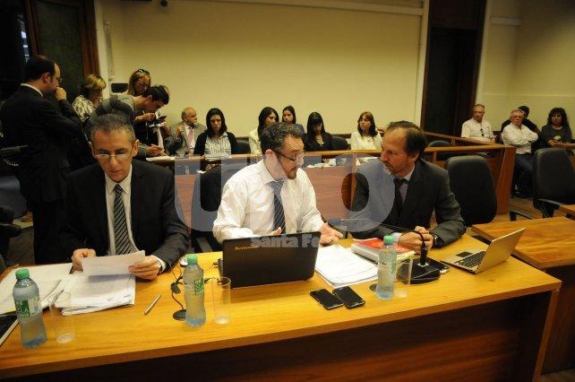 Los fiscales De Pedro y Filippi y el abogado querellante, Martín Risso Patrón.